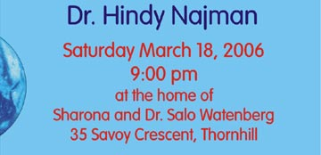 Dr. Hindy Najman Saturday March 18, 2006